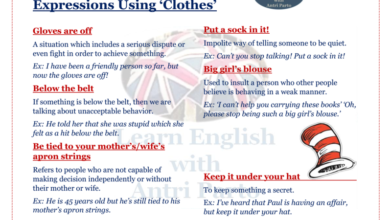 Expressions using 'clothes'