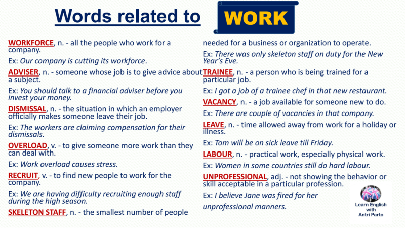 Vocabulary: Words related toWORK