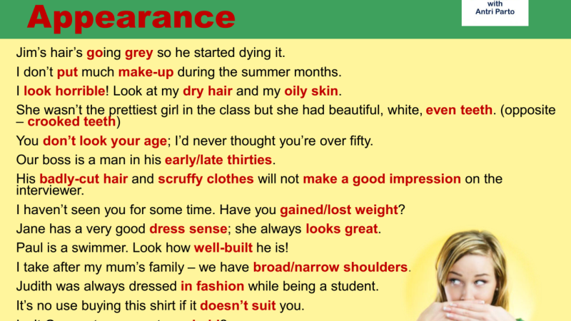 Collocations about PhysicalAppearance