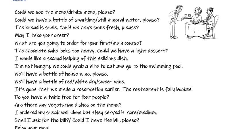 Restaurant Collocations
